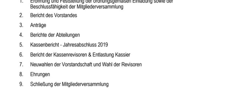 Mitgliederversammlung am 19.06.2021 /weitere Informationen